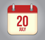 Vector calendar app icon 20 july