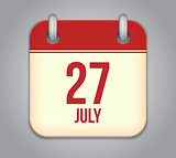 Vector calendar app icon 27 july