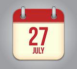 Vector calendar app icon 27 july