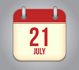 Vector calendar app icon 21 july