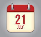 Vector calendar app icon 21 july