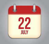 Vector calendar app icon 22 july