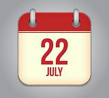 Vector calendar app icon 22 july