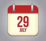 Vector calendar app icon 29 july