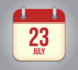 Vector calendar app icon 23 july