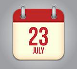 Vector calendar app icon 23 july