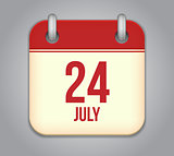 Vector calendar app icon 24 july