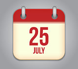 Vector calendar app icon 25 july