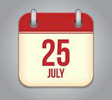 Vector calendar app icon 25 july