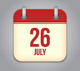 Vector calendar app icon 26 july