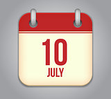 Vector calendar app icon 10 july