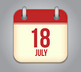 Vector calendar app icon 18 july