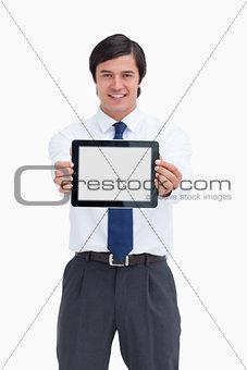 Portrait of smiling business man holding digital tablet