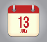 Vector calendar app icon 13 july