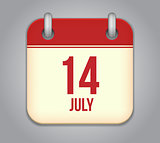 Vector calendar app icon 14 july