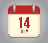 Vector calendar app icon 14 july
