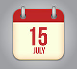 Vector calendar app icon 15 july
