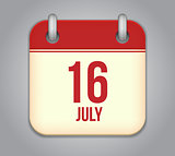 Vector calendar app icon 16 july