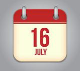 Vector calendar app icon 16 july