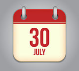Vector calendar app icon 30 july