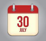 Vector calendar app icon 30 july