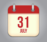 Vector calendar app icon 31 july