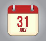 Vector calendar app icon 31 july