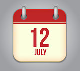 Vector calendar app icon 12 july