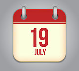 Vector calendar app icon 19 july