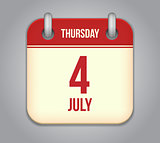 Vector calendar app icon 4 july