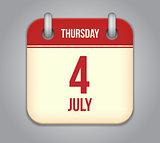 Vector calendar app icon 4 july