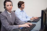 Two call center operators