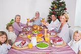 Family raising their glasses at christmas