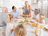 Family looking at the mother with a turkey plate