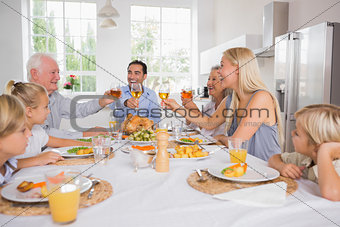 Adults raising their glasses at thanksgiving dinner