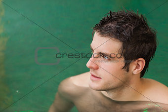 Attractive man in swimming pool