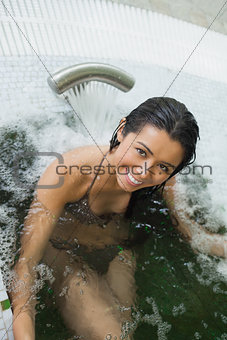 Woman enjoying the hydrotherapy pool