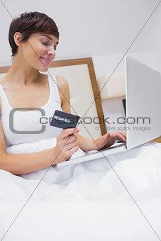 Smiling brunette shopping online