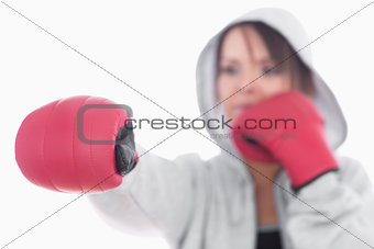 Young woman in boxing stance