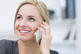 Closeup of business woman using mobile phone