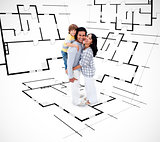 Smiling family against an architectural plan background