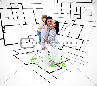 Family against an architectural plan background