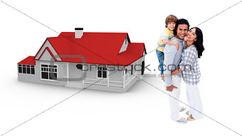 Family against their house illustration