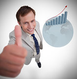 Businessman giving thumb up
