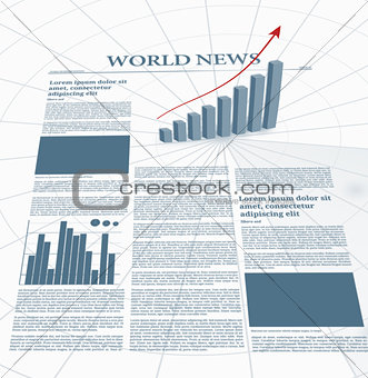 Business newspaper with graphics