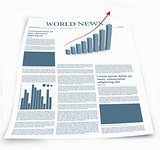 Business newspaper named world news with graphics