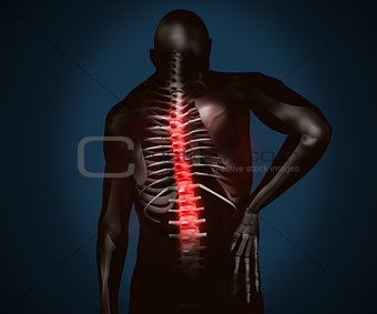 Black digital figure with back pain