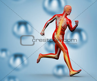 Skeleton running on a digital background