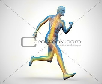 Blue and yellow digital skeleton running