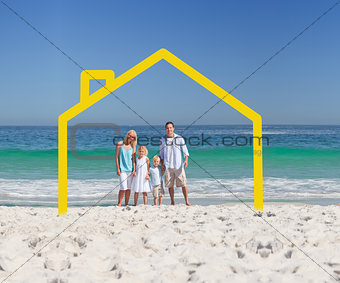 Family posing with a yellow house illustration